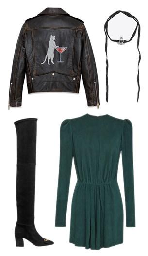 Saint Laurent jacket, dress and scarf, Dior boots