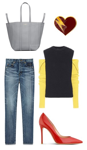 Balenciaga bag, Saint Laurent jeans and brooch, Calvin Klein sweater, Gianvito Rossi shoes